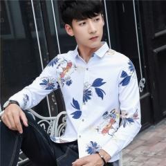 2017 New Autumn Fashion Brand Men Clothes Slim Fit Men Long Sleeve Shirt Men blue m