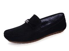 Winter Fur Lined Men Suede Loafers Slip-on Gentlemen Moccasins Soft Bowknot Warm black 39