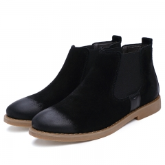 The Chelsea Boot Men Suede Martin Boots Low Heel Leather Ankle Boots Sewing Thread Britain Botas black 42