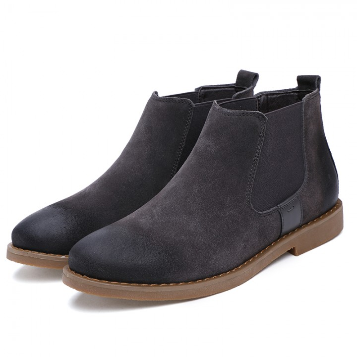 The Chelsea Boot Men Suede Martin Boots Low Heel Leather Ankle Boots Sewing Thread Britain Botas grey 41