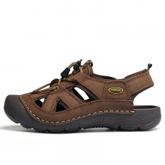 Men Sandals Casual Leather Sandals Men Summer Shoes Breathable brown 44