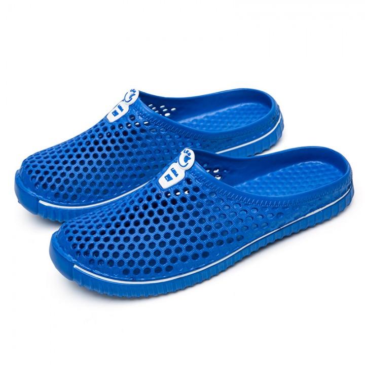 Unisex Men Womens Summer Casual Garden Shoes Breathable Mesh Clogs Beach Slippers dark blue 45