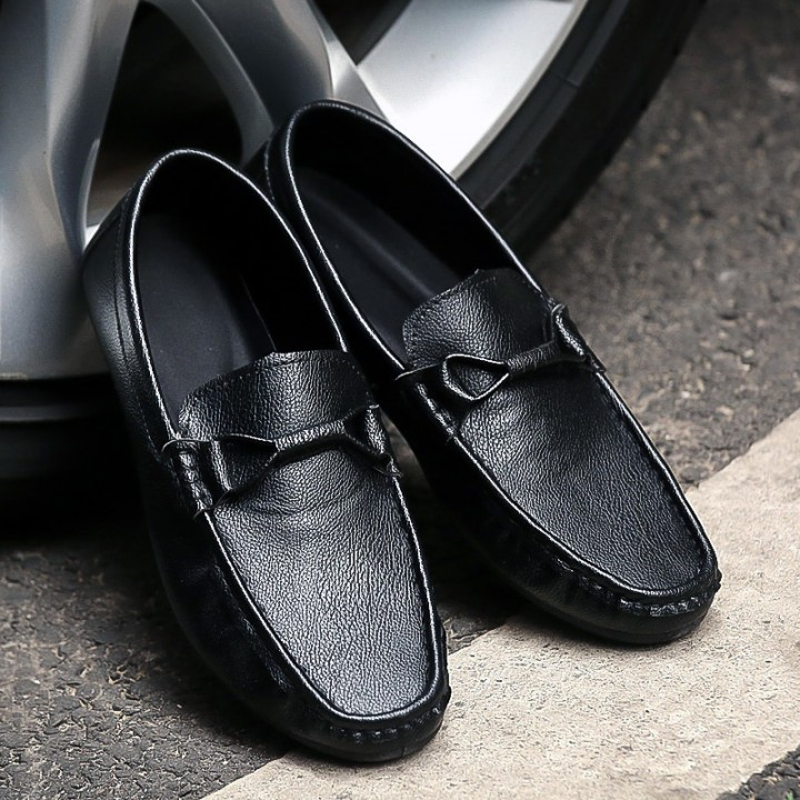 New 2016 Men Casual Leather Loafers Breathable Spring Driving Moccasins Slip on Men Loafers black 42