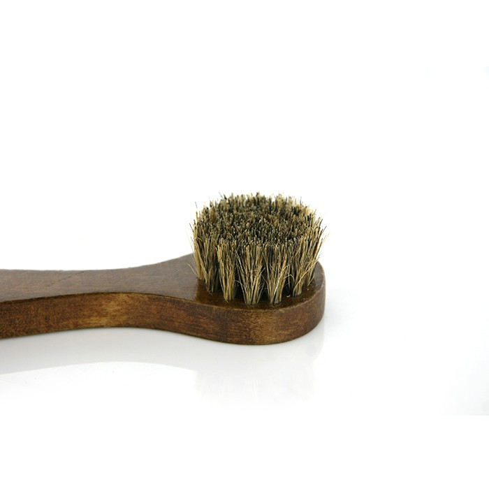 Long Wood Handle Bristle Horse Hair Brush Shoe Boot Polish Shine Cleaning Dauber dark brown 17cm