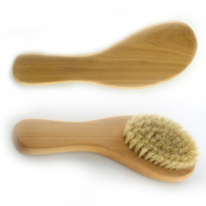 New Stylish Hot Sale Professional Wooden Handle Shoes Shine Brush Polish Bristle Horse Hair yellow 17*5.5cm