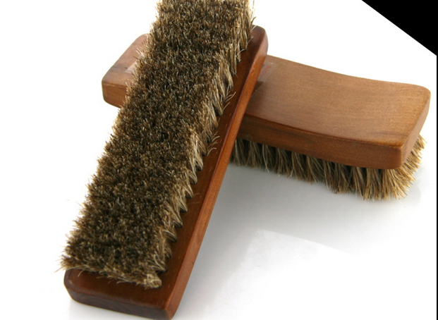 Professional Natural Bristle Horse Hair Shoe Shine Polish Buffing Brush Wooden dark brown 15.5*5cm