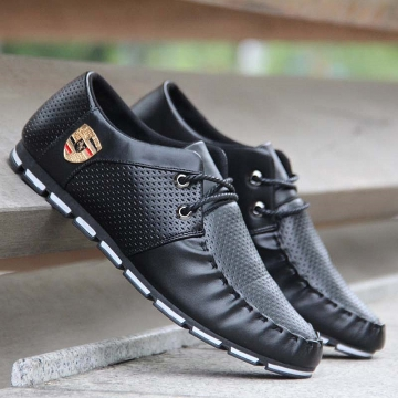 Black PU Leather Breatheable Flat Running Shoes Softer Easy Going Casual Sneaker black 41