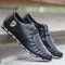 Black PU Leather Breatheable Flat Running Shoes Softer Easy Going Casual Sneaker black 43
