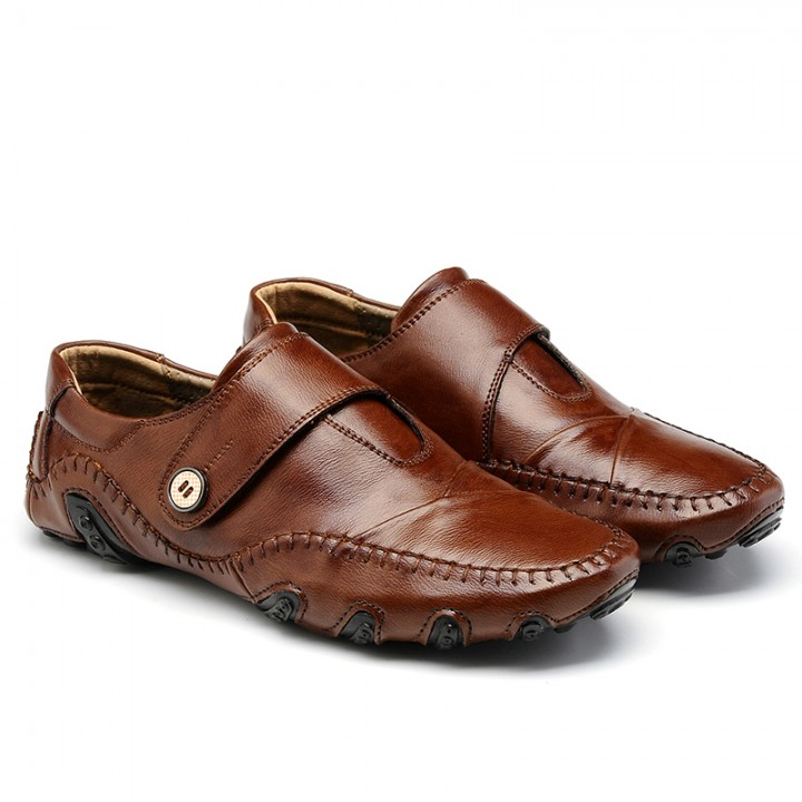 Brand Quality Genuine Leather Men Flats Casual Soft Loafers Comfortable Driving Breathable Shoes brown 44
