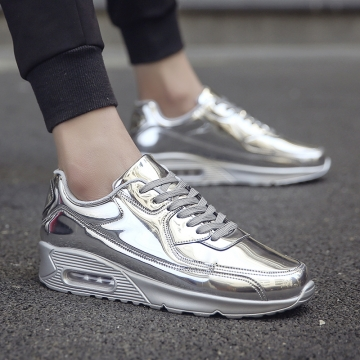 Brand  Men's Sports Running Shoes Sneakers Gold Silver Sports Trainers Light Breathable Shoes silver 44