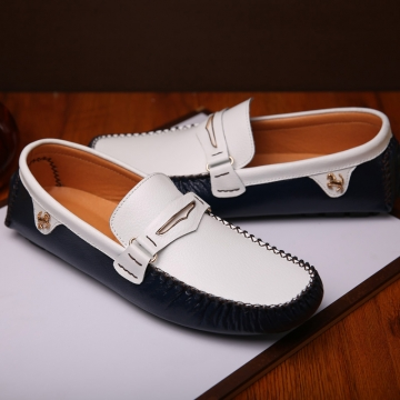 Fashion Summer Style Soft Moccasins Men Loafers High Quality Genuine Leather Driving Shoes blue 40