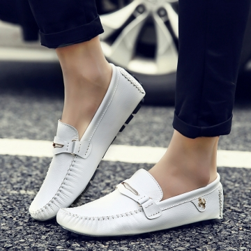 Fashion Summer Style Soft Moccasins Men Loafers High Quality Genuine Leather Driving Shoes white 44