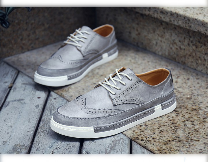 Men's Leather Brogues Dress British Carved Leisure Flats Men Oxford Male Casual Shoes grey 42