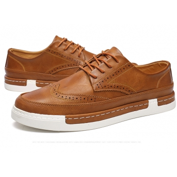 Men's Leather Brogues Dress British Carved Leisure Flats Men Oxford Male Casual Shoes brown 43