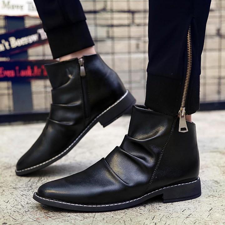 Brand Fashion Men Boots, High Quality Men Ankle Boots, Popular Men Autumn Shoes black 43