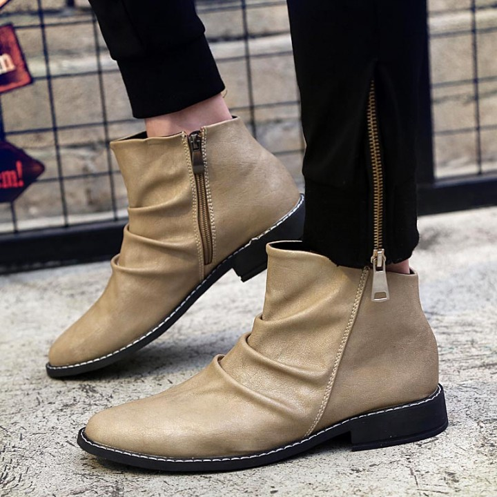 Brand Fashion Men Boots, High Quality Men Ankle Boots, Popular Men Autumn Shoes khaki 43