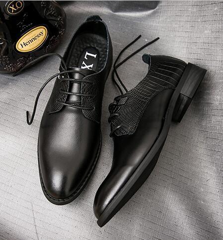 Luxury Classic Vintage Mens Genuine Leather Black Formal Designer Shoes black 41