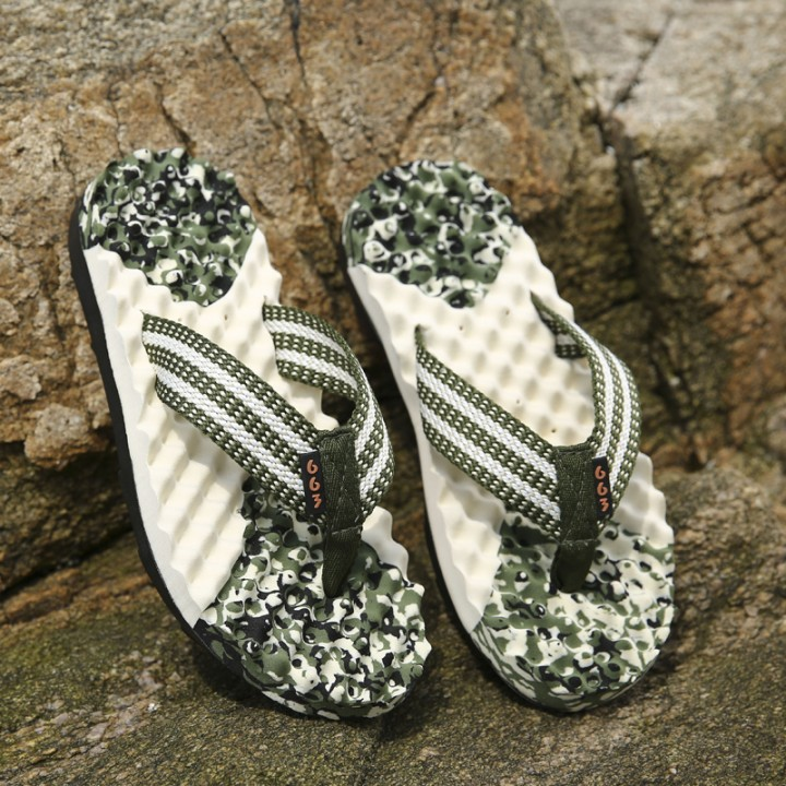 Casual Plaid Stripes Men Sandals Slippers Summer Fashion Men Outdoor Casual Beach Shoes Flip flops green 39