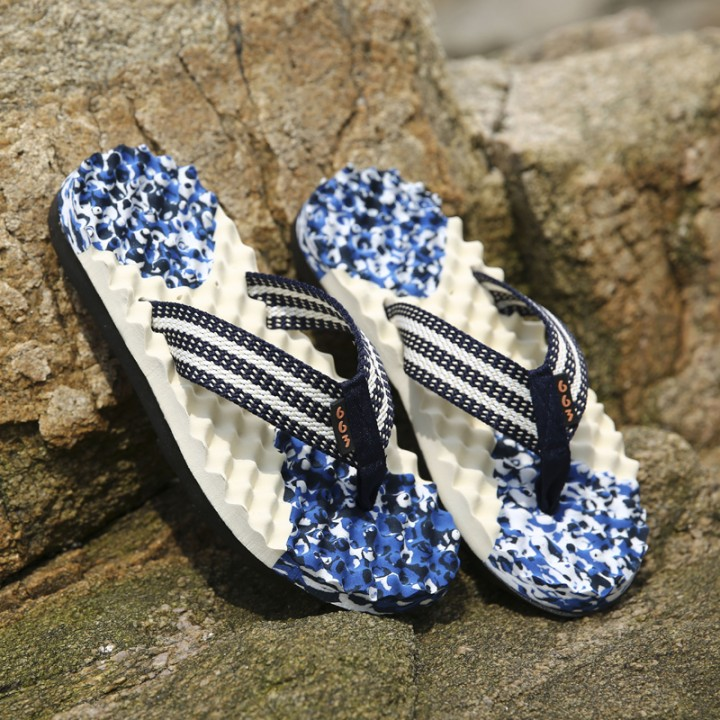 Casual Plaid Stripes Men Sandals Slippers Summer Fashion Men Outdoor Casual Beach Shoes Flip flops blue 39