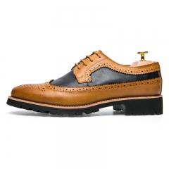 Vintage Brogue Male Shoes Carve Flower Yuppie Men Shoes Wedding Shoes brown 42