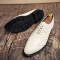 Men Casual Luxury Brand Flats Genuine Leather Black Formal Dress Wedding Brogues Wingtip Shoes white 41