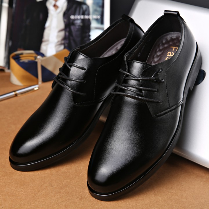 Business Men's Basic Flat Leather Gentle Wedding Dress Shoes Luxury Brand Formal Wearing British black 40