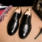 Plus Size Leather Men'S Shoes Business Formal Brogue Pointed Toe Carved Oxfords Wedding Dress Shoes black 44