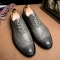 Plus Size Leather Men'S Shoes Business Formal Brogue Pointed Toe Carved Oxfords Wedding Dress Shoes grey 39