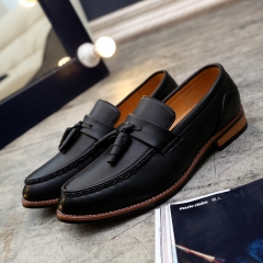 2017 Designer Luxury Brand Casual Wedding Party Dress Genuine Leather Flats Shoe Oxfords Tassel black 39