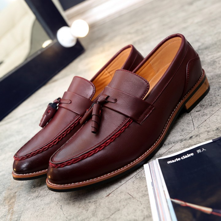 2017 Designer Luxury Brand Casual Wedding Party Dress Genuine Leather Flats Shoe Oxfords Tassel red 42