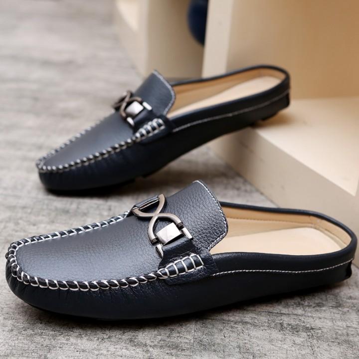 Men Driving Shoes Luxury Brand Shoes Summer Men Shoes Backless Horsebit Loafers Open Backs Shoes blue 42