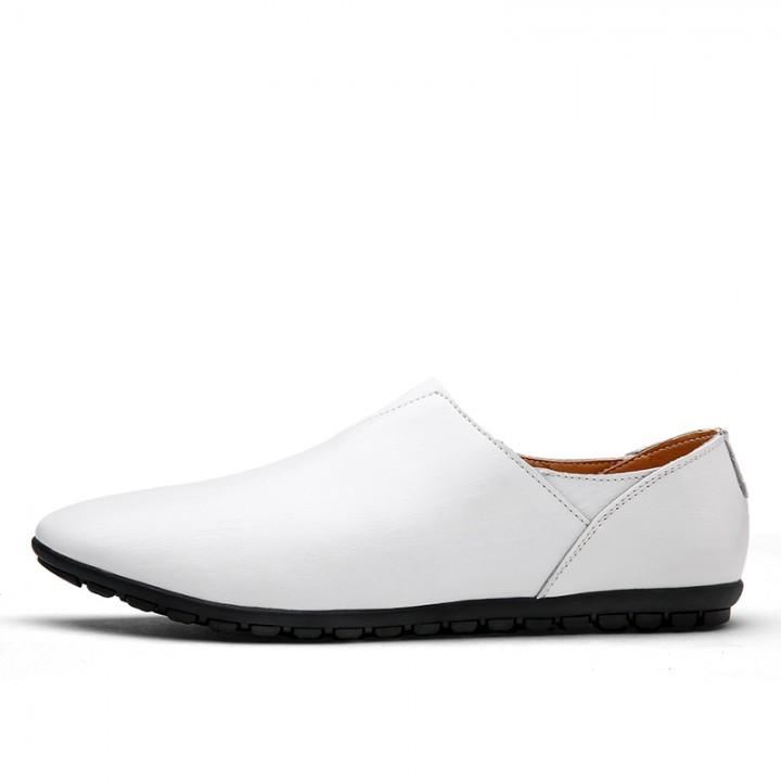 2017 Urban Men Leather Slippers Handmade Men Dress Shoes Comfortable Soft Driving Business Slipper white 38