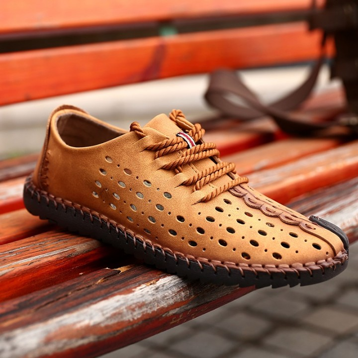 2017 New Arrival Genuine Leather Luxury Brand Summer Men Casual Shoes High Quality Breathable Holes khaki 44