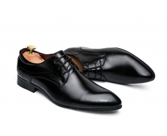 2017 New Arrival Men Dress Shoes Black Business Wedding Shoes Flats Pointed Toe Shoes Handsome black 39