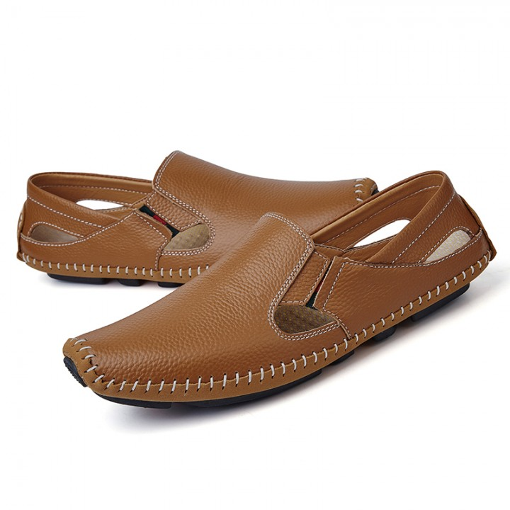 Big Size Summer Men Driving Shoes Genuine Leather Good Quality Soft Men Loafers Comfortable brown 44