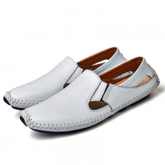 Big Size Summer Men Driving Shoes Genuine Leather Good Quality Soft Men Loafers Comfortable white 46