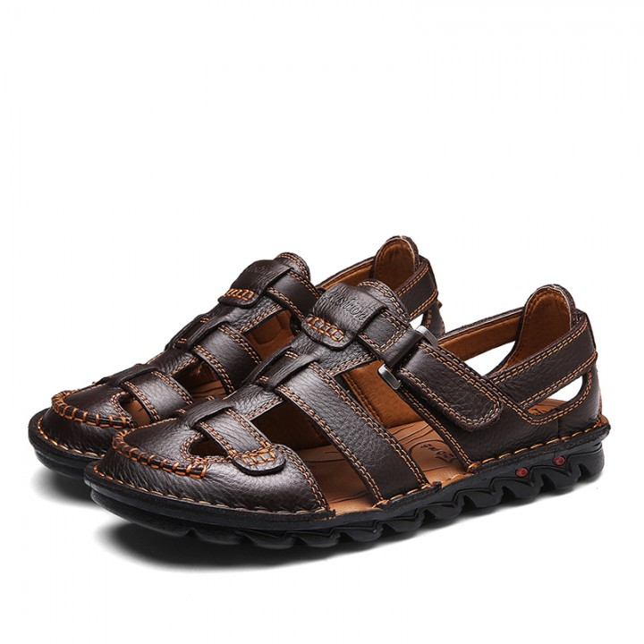 2017 Summer Mens Leather Sandals Gladiator Casual Beach Slide Shoes Open Toe Breathable Holes brown 44
