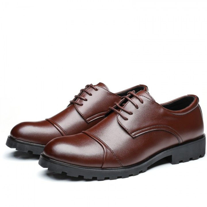 2017 Elegant Men Business Shoes Wedding Mens Formal Derby Dress Meeting Brown
