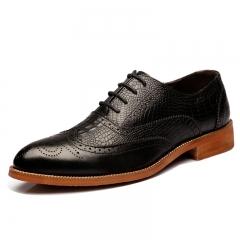 Genuine Leather Mens Brogue Shoes Walking Men Dress Lace Up Office Shoes black 39