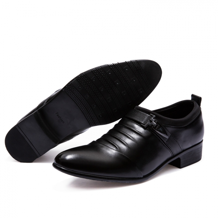 Men Pointed Dress Shoes Business Formal Flats Black Shoes Buckle Gentleman black 42