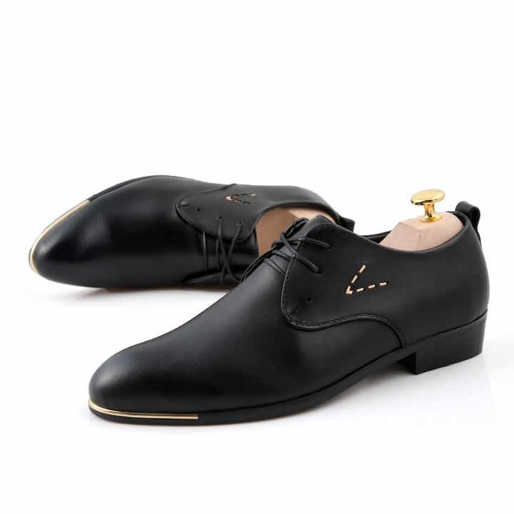 Mens Working Office Shoes Business Lace Up Pointed Toe Flat British Style black 40