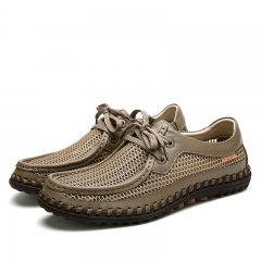 Men's Summer Handmade Breathable Mesh Leahter Mixed Hiking Shoes Outdoor Sports Tennis Shoes khaki 39