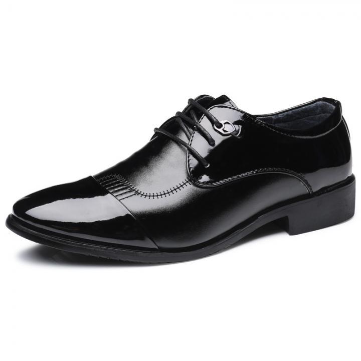 Leather Men Dress Shoes Business Casual Classic Gentleman Shoes Male black 44