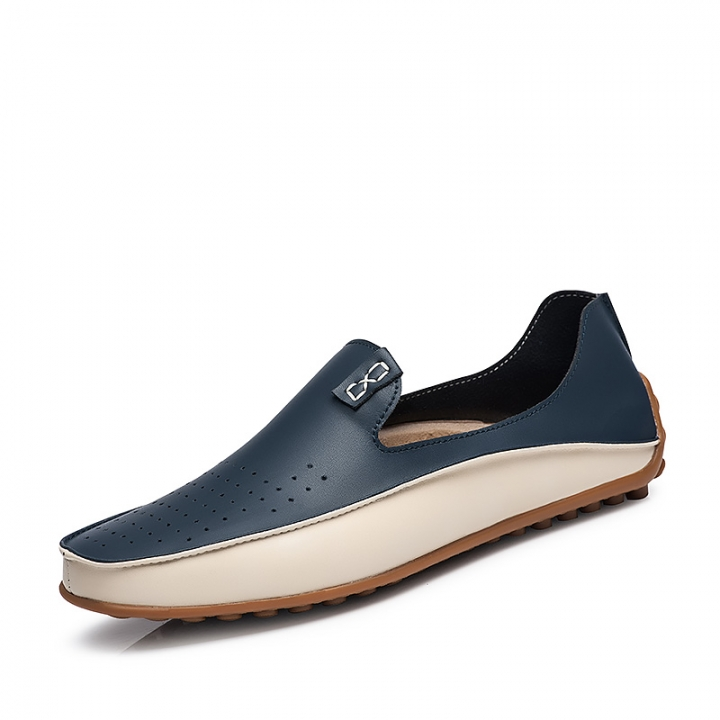 Summer Causal Shoes Men Loafers Genuine Leather Moccasins Men Driving Shoes Flats For Man size 38-47 blue 45