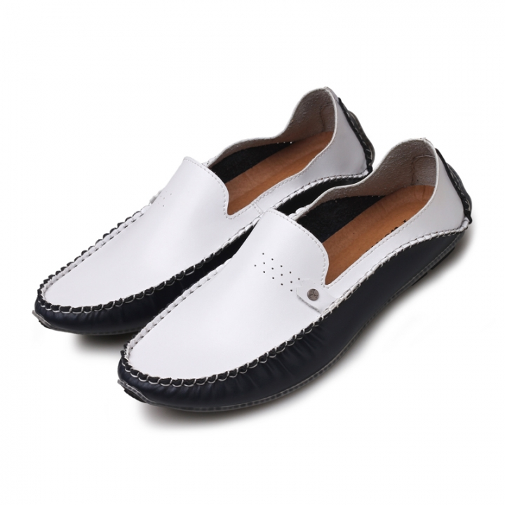 2017 Summer Causal Shoes Men Loafers Leather Moccasins Men Driving Shoe Flats Big Plus Size 38-46 white 38