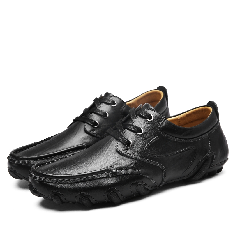e8a810df4fa New Design Real Leather Men Flats Genuine Leather Men Boat Shoes Lace Up  For Driving black 43  Product No  752332. Item specifics  Brand
