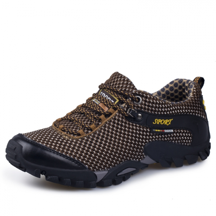 Hiking Shoes Men Outdoor Climbing Sports Trekking Shoes  Breathable Mesh brown 39