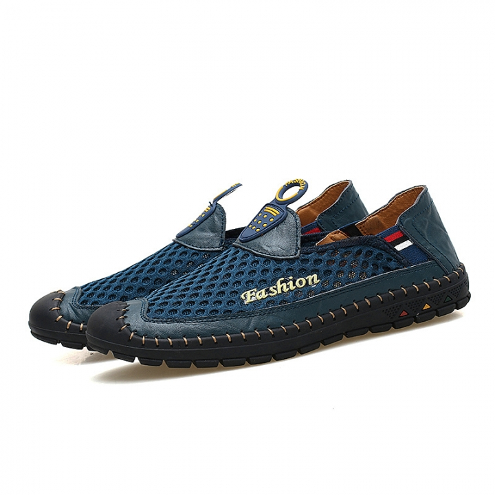 Summer Cool Men Shoes Casual Loafers Classical Mesh Shoes Breathable Flats Moccasins blue 43
