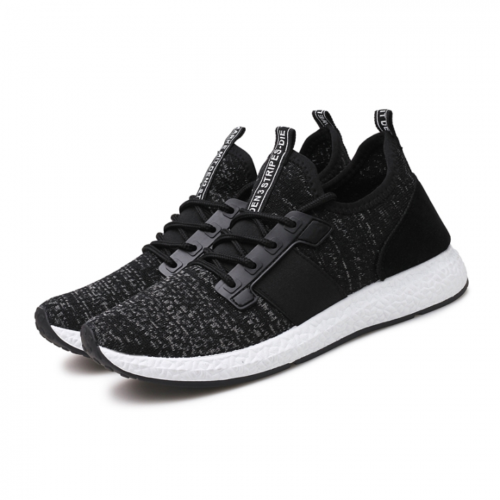 Men Running Shoes Breathable Flyknit Sports Shoes Lace Up Summer Superstar Shoes black 43