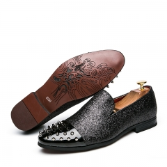 Fashion Rivets Studded Men Pumps Metallic Studded Loafers Casual Party Black Color Mens Shoes black 39